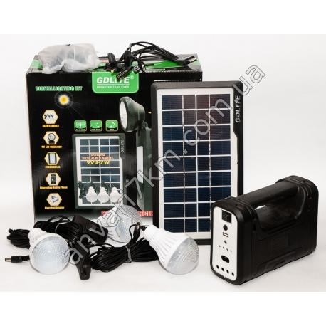 N293 LED фонарь кемпинговый GDLITE + солнечная панель 9V 3-7W + LED лампы
